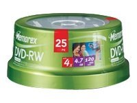 Memorex 4x DVD-RW Media (25-pack Spindle), 05562, 7394410, DVD Media