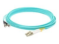 ACP-EP LC-ST 50 125 OM3 Multimode LOMM Fiber Duplex Patch Cable, Aqua, 15m, ADD-ST-LC-15M5OM3