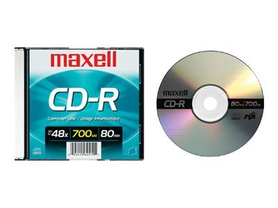 Maxell CD-R 48X 80 Minute 700MB with Slim Jewel Case, 648201