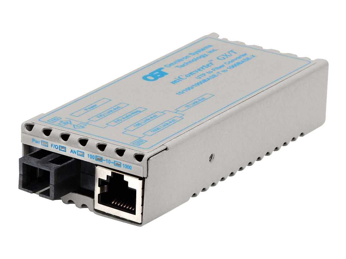 Omnitron Miconv 10 100 1000BT RJ45 to 1000B-BX SC SM TX1310 RX1550 20K US, 1230-1-1, 9403017, Network Transceivers