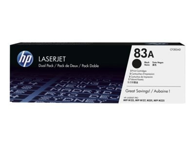 HP 83A (CF283AD) Black Original LaserJet Toner Cartridges (2-pack), CF283AD, 18769838, Toner and Imaging Components