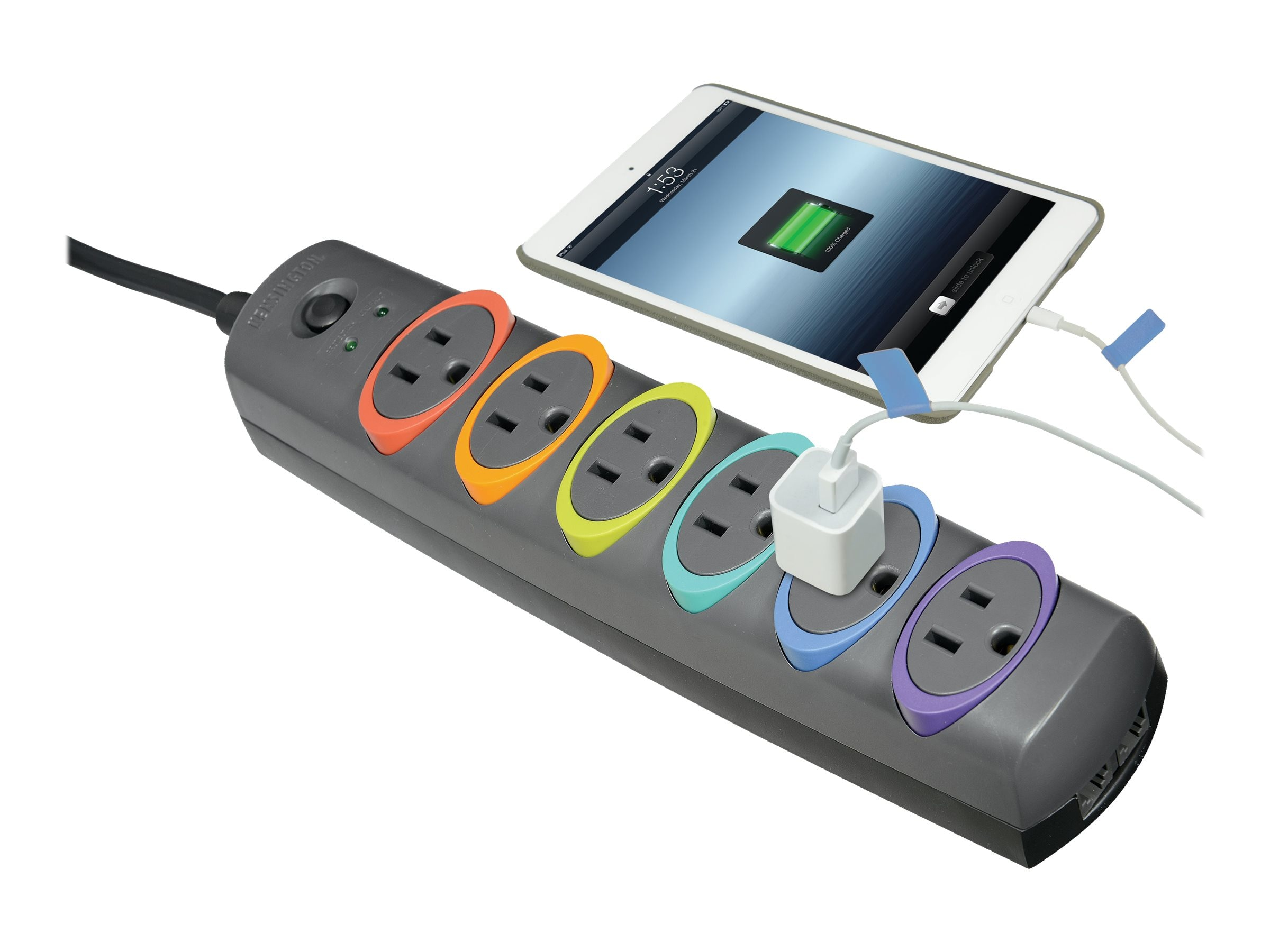 Kensington SmartSockets Standard Surge Protector, 945 Joules, (6) Outlets, 7ft Cord, Phone Line Protection, K62147NA
