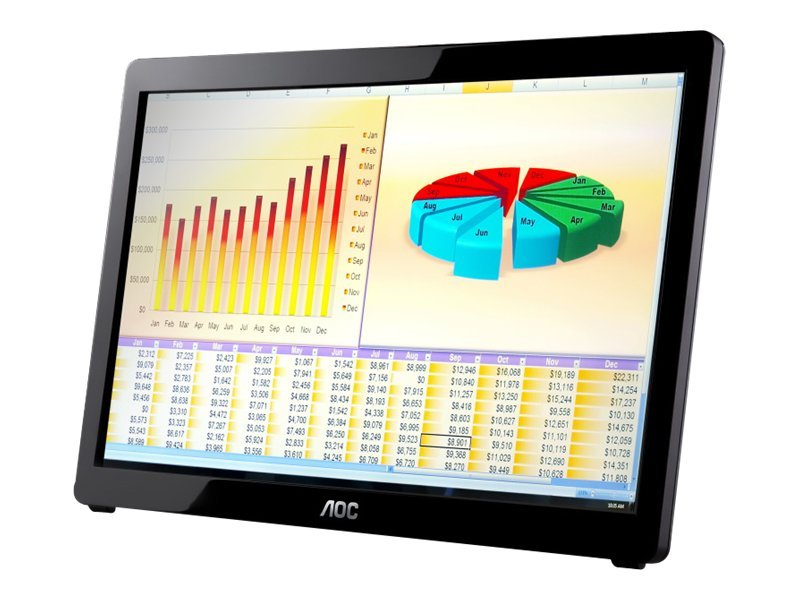 AOC 16 e1649Fwu LED-LCD Portable Monitor, USB Power, Glossy Black, e1649Fwu, 13179513, Monitors - LED-LCD