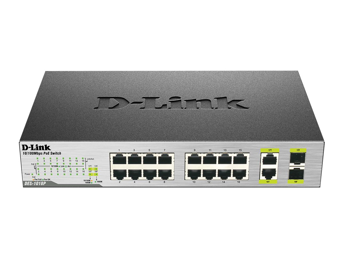 D-Link 18-Port Unmanaged Desktop PoE Switch, DES-1018MP, 17535677, Network Switches