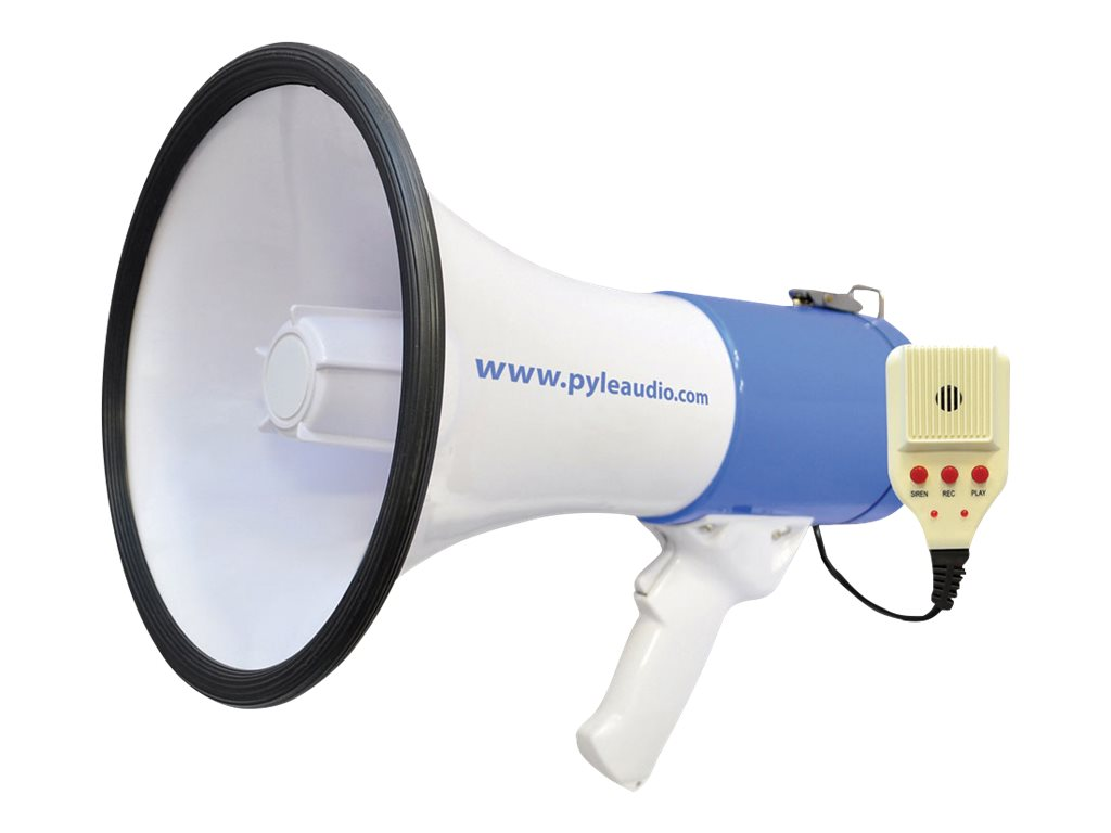 Pyle 50 Watt Professional Rechargeable Megaphone - Piezo Dynamic, Lithium Battery, Record, Siren