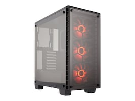 Corsair Chassis, Crystal Series 460X RGB Compact Mid-Tower ATX 2x3.5 Bays 3x2.5 Bays 7xSlots, CC-9011101-WW, 32626121, Cases - Systems/Servers
