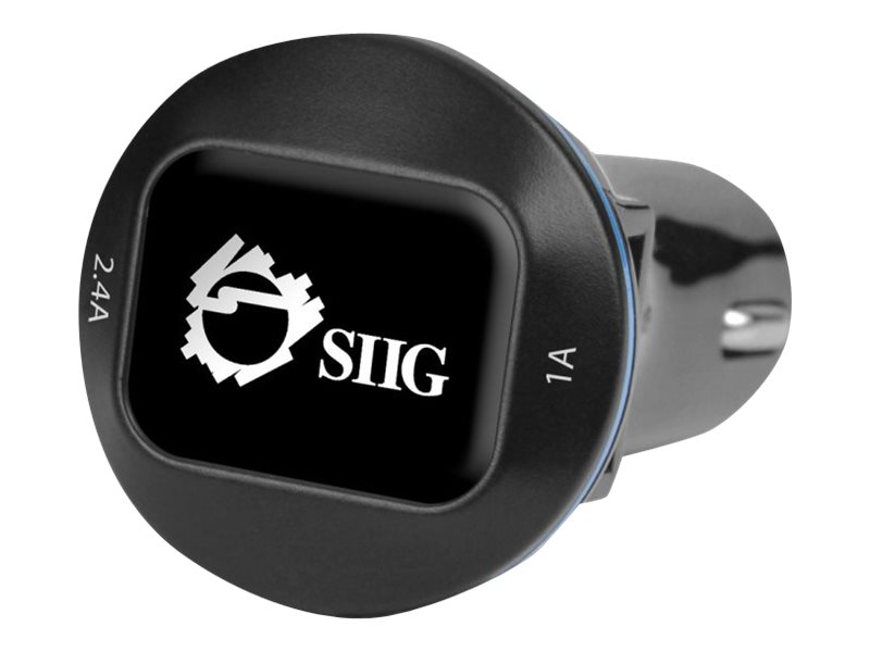Siig 3.4A 2-Port USB Car Charger w  Back-lit Power Status LED