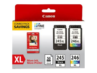 Canon PG-245XL CL-246XL Ink Cartridge Combo Pack w  GP-502 Photo Paper, 8278B005, 16075200, Ink Cartridges & Ink Refill Kits