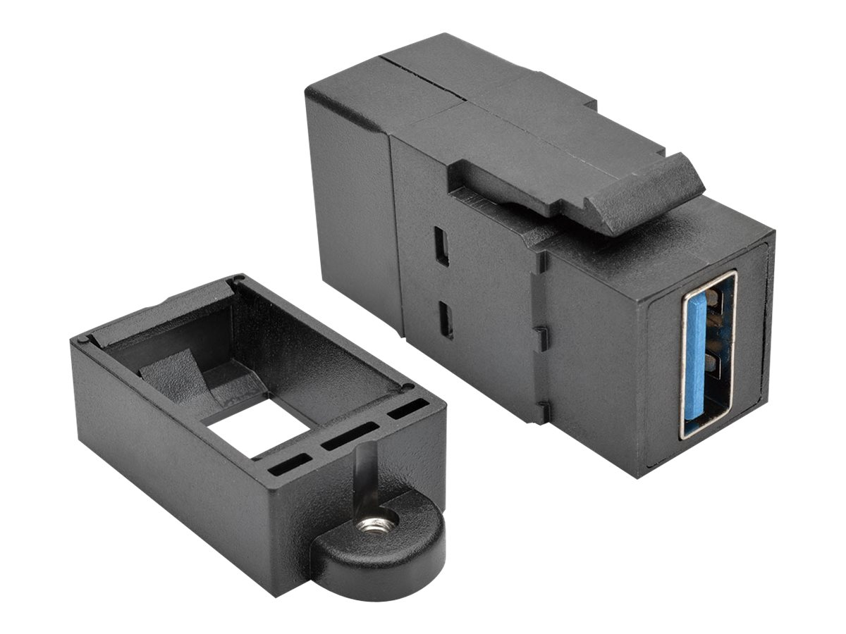Tripp Lite USB 3.0 F F All-in-One Keystone Panel Mount Coupler, Black