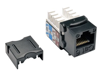 Tripp Lite Cat6 Cat5e 110-Style Punch Down Keystone Jack, Black, TAA (10-pack), Instant Rebate - Save $2, N238-010-BK, 21327109, Premise Wiring Equipment