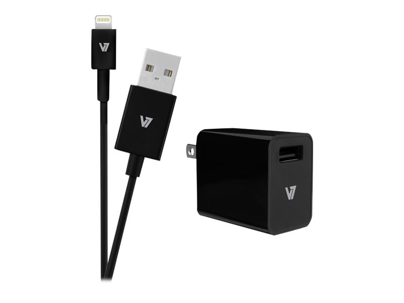 V7 1-Port 2.4A USB Wall Charger for iPad Air iPhone w  1M Lightning Cable, Black