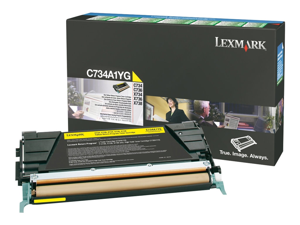 Lexmark Yellow Return Program Toner Cartridge for C734, C736, X734, X736 & X738 Series, C734A1YG