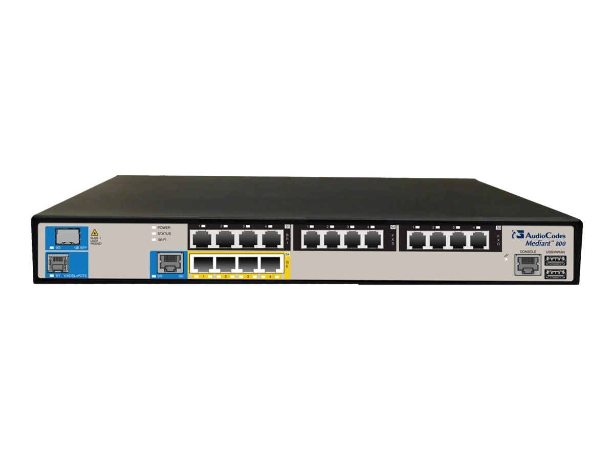 AudioCodes Mediant 800B VoIP Gateway w 1 E1 T1 Voice Interface, 2 Active Standby Pairs of FE GE Interfaces, M800B-V-1ET-4L