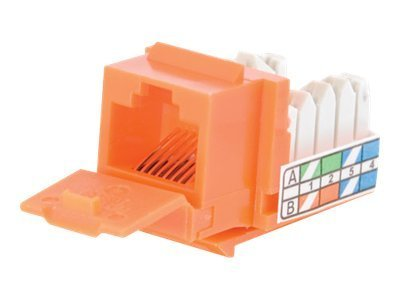 C2G Cat5e 90-Degree Keystone Jack, Orange, 35205, 9296207, Premise Wiring Equipment