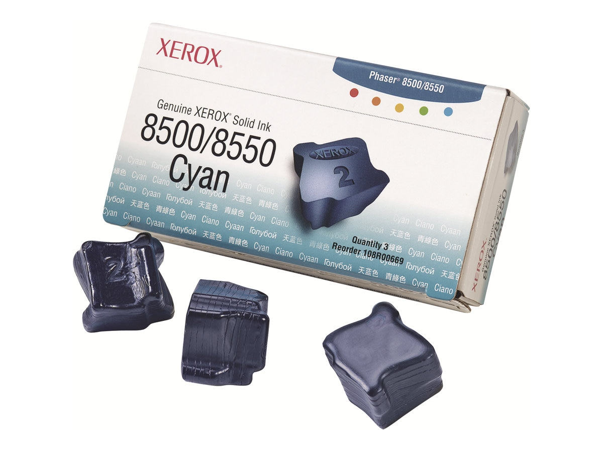 Xerox Cyan Solid Ink Sticks for Phaser 8500 & 8550 Printers (3-pack), 108R00669, 5879202, Toner and Imaging Components