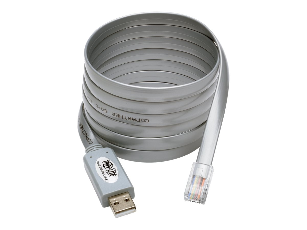 Tripp Lite USB Type A to RJ45 M M Cisco Serial Rollover Cable, Gray, 6ft, U209-006-RJ45-X, 30731066, Cables