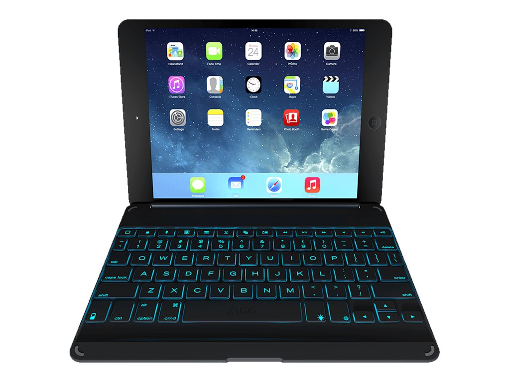 Zagg Zaggkeys Cover Hinged Backlit Keyboard for iPad Air, Black, ZKFHCBKLIT105