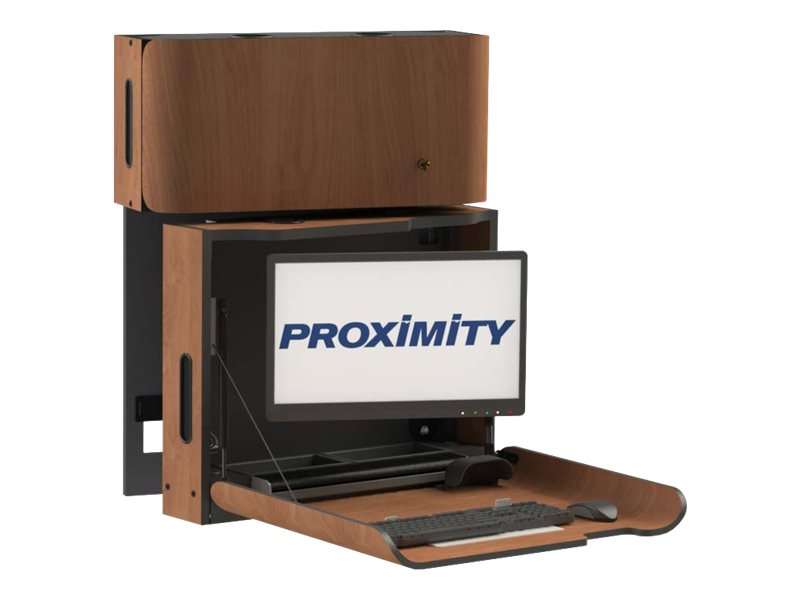 Proximity Classic Series Wall-Mounted Computer Workstation with Right Swivel and Monitor Arm, Wild Cherry