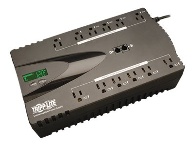 Tripp Lite ECO 850VA 425W 120V Energy-saving Standby UPS, USB Port, (12) 5-15R Outlet, TAA, ECO850LCDTAA