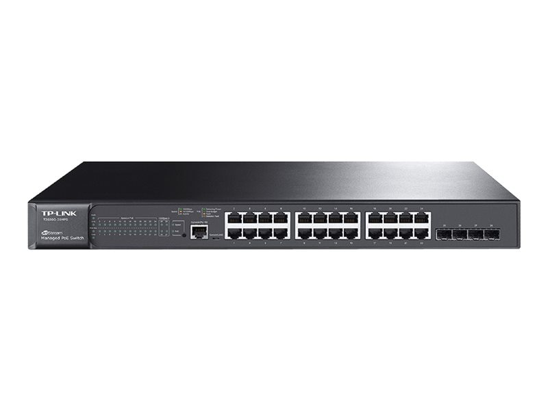 TP-LINK 24-Port GbE PoE L2 Mngd Switch w 4xSFP, T2600G-28MPS