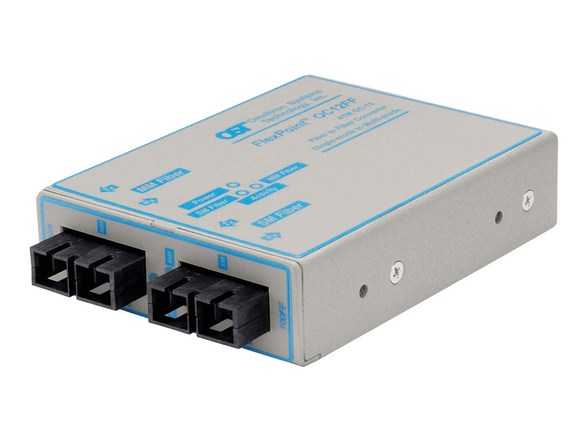 Omnitron FlexPoint OC12FF Single-Mode to Multimode Fiber Converter, 4461-1, 194667, Network Transceivers
