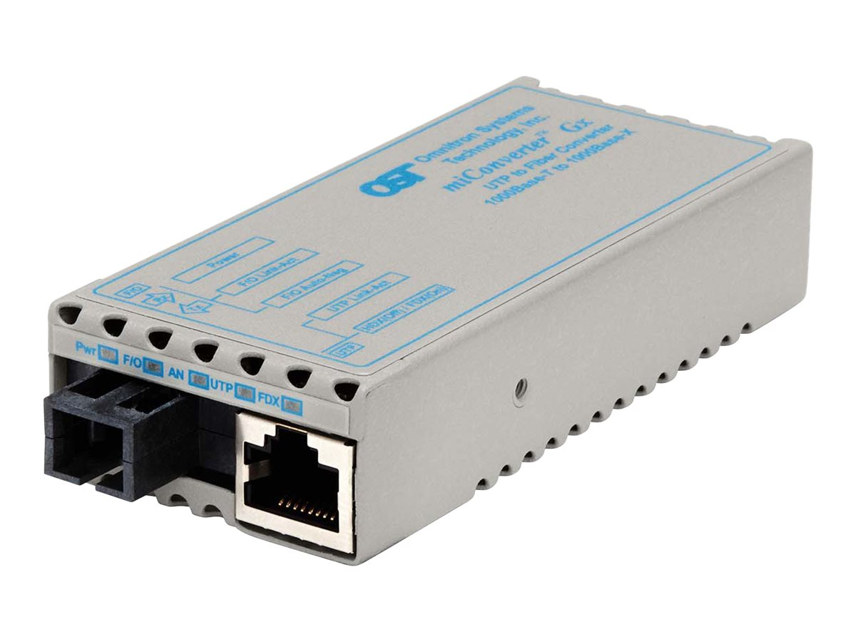 Omnitron Miconv 1000BT RJ45 to 1000B-BX SC SM TX1310NM RX1490NM 20KM US Power, 1212-1-1, 9402858, Network Transceivers