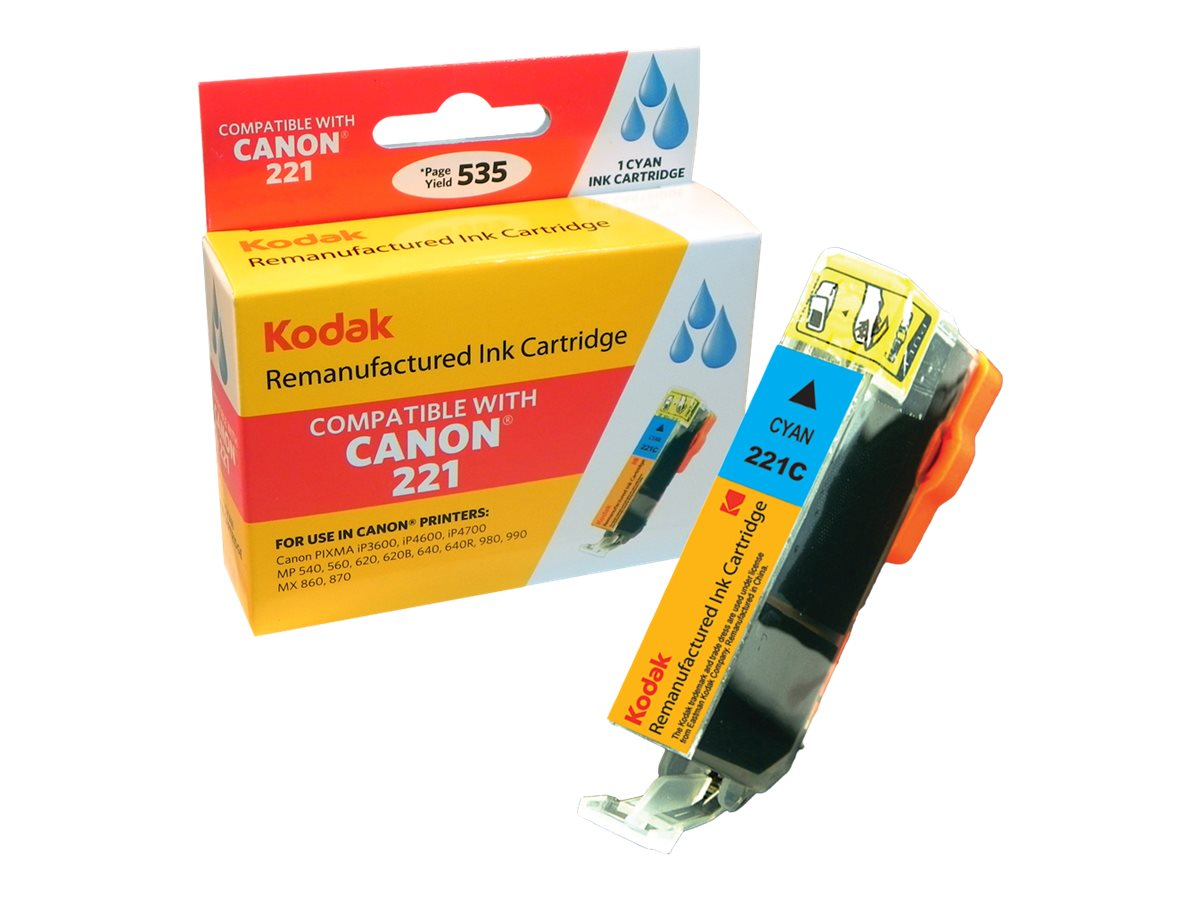 Kodak 2947B001 Cyan Ink Cartridge for Canon, CLI-221C-KD, 31286355, Ink Cartridges & Ink Refill Kits