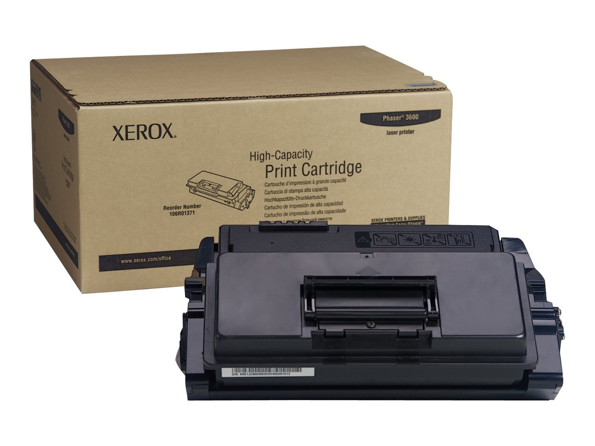 Xerox Black High Capacity Toner Cartridge for Phaser 3600 Series Printers, 106R01371, 8621881, Toner and Imaging Components