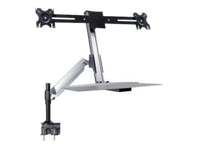 DoubleSight Sit Stand Full Motion Lift Arm with Keyboard Tray, Desk Mount