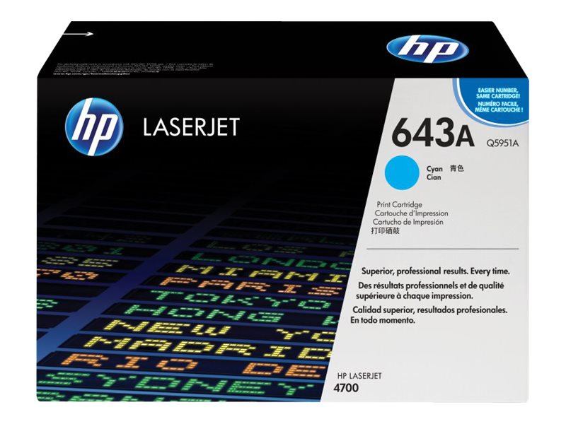 HP 643A (Q5951A) Cyan Original LaserJet Toner Cartridge for HP Color LaserJet 4700 Series Printers, Q5951A, 6127686, Toner and Imaging Components