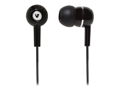 V7 In-Ear Earbud Headphones, Black, HA100-2NP, 14244170, Headphones