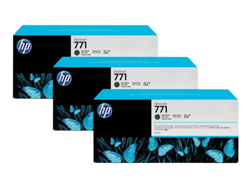 HP 771 775-ml Matte Black Designjet Ink Cartridges (3-pack), CR250A, 12163819, Ink Cartridges & Ink Refill Kits