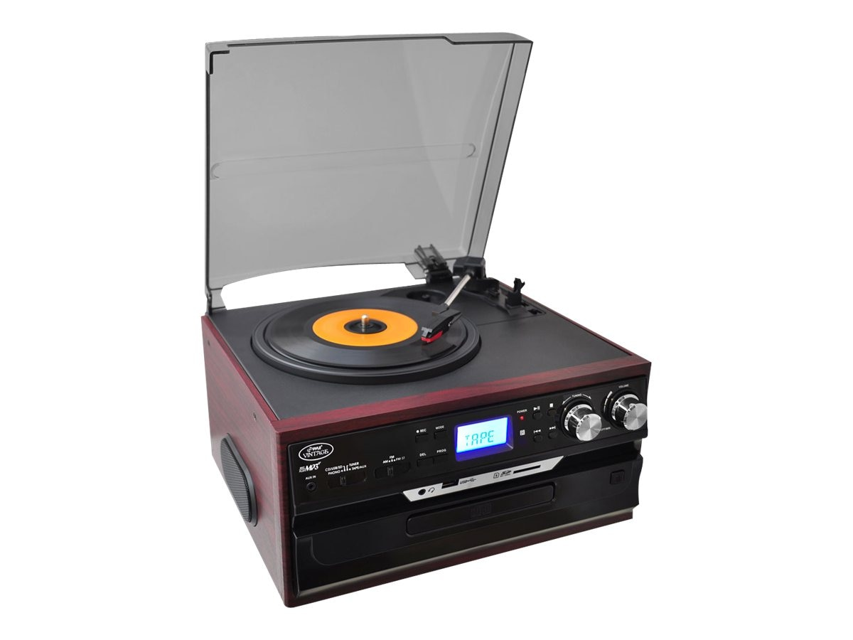 Pyle Vintage Styled Turntable - Plays AM FM Radio, Cassettes, CDs & MP3s - USB SD Direct Record, PTTCDS7U, 16549516, Music Hardware