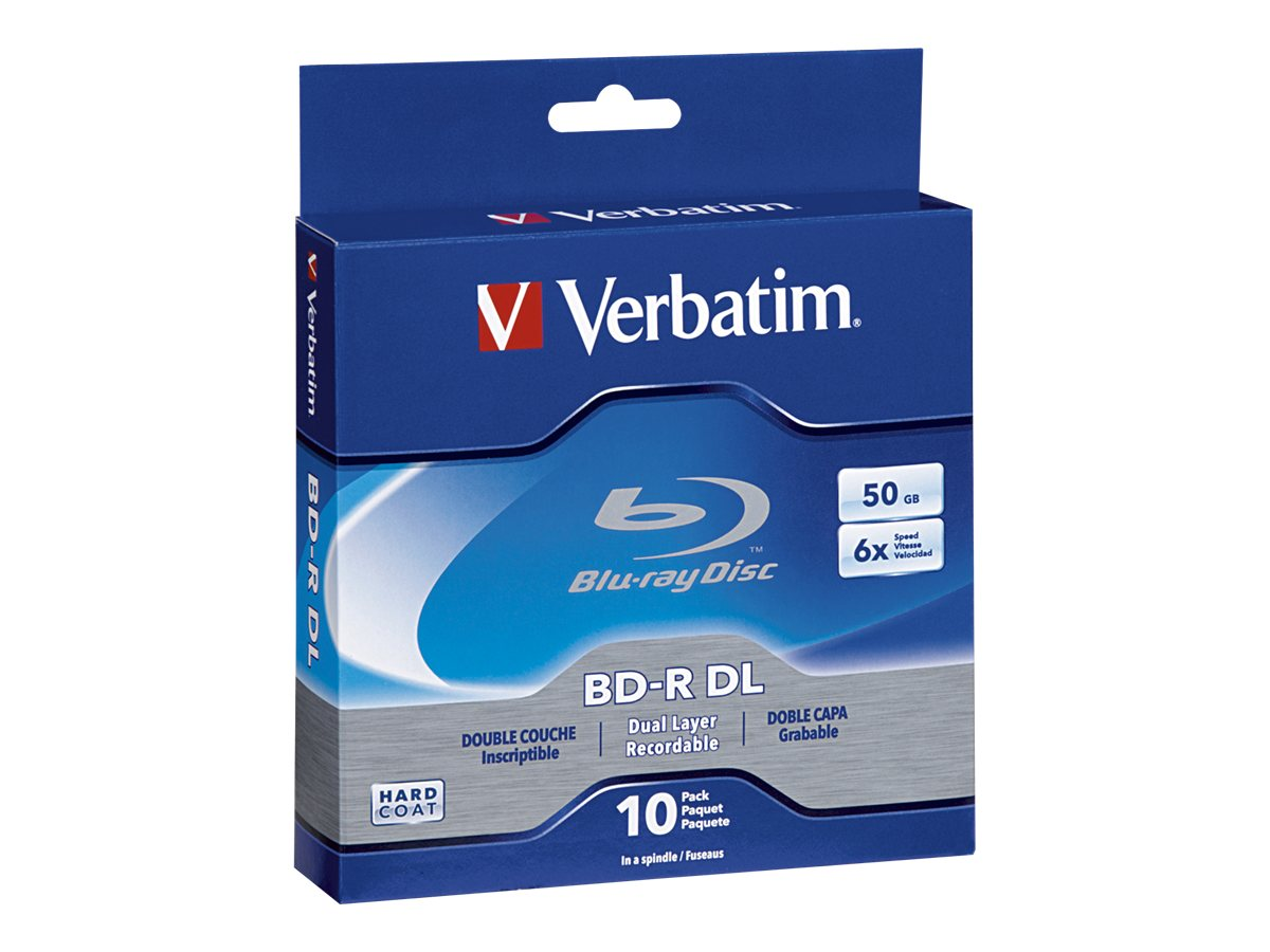 Verbatim 6x 50GB Branded BD-R DL Media (10-pack), 97335, 12300326, Blu-Ray Media