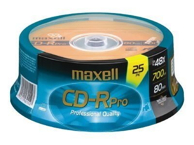 Maxell 48x 700MB 80min. CD-Rpro Media (25-pack Spindle), 648425, 6102809, CD Media