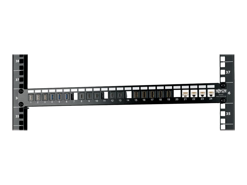 Tripp Lite 24-Port 1U Rack-Mount Shielded Blank Keystone Multimedia Patch Panel, RJ-45, USB, HDMI, Cat5e 6, N062-024-KJ-SH