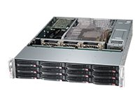 Supermicro SuperChassis 826BA 2U RM (2x)Xeon 5500 Opteron Family 12x3.5 HS Bays 3xFans 2x1280W RPS, CSE-826BA-R1K28WB, 15274266, Cases - Systems/Servers
