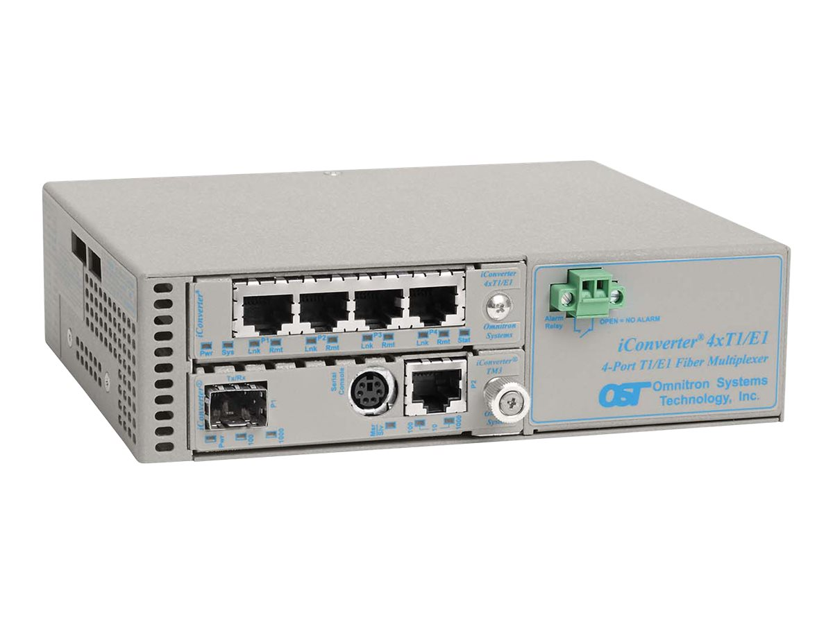 Omnitron iConverter 4X T1 E1+10 100 1000 to SFP Mux Fiber Managed, 8839N-0-C, 17051066, Multiplexers