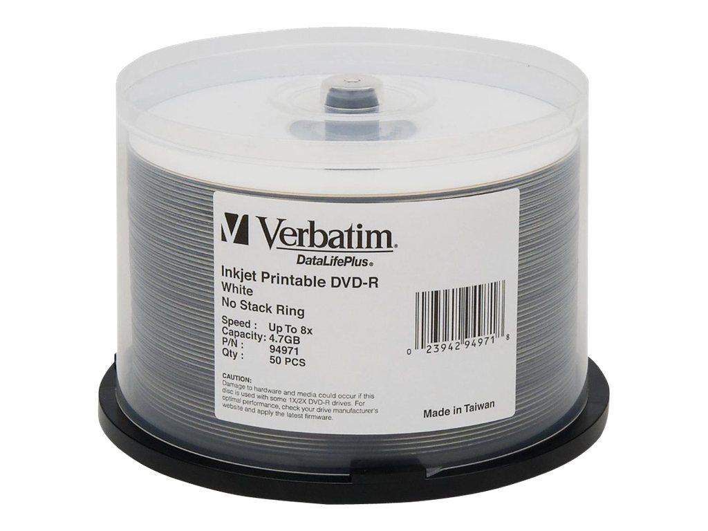 Verbatim 4.7GB 8x DataLifePlus White Inkjet Printable Hub Logo DVD-R Media (50-pack Spindle), 94971, 5385085, DVD Media