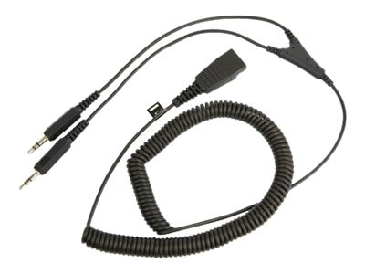 Jabra Dual 3.5mm Stereo Jacks to Quick Disconnect PC Cable