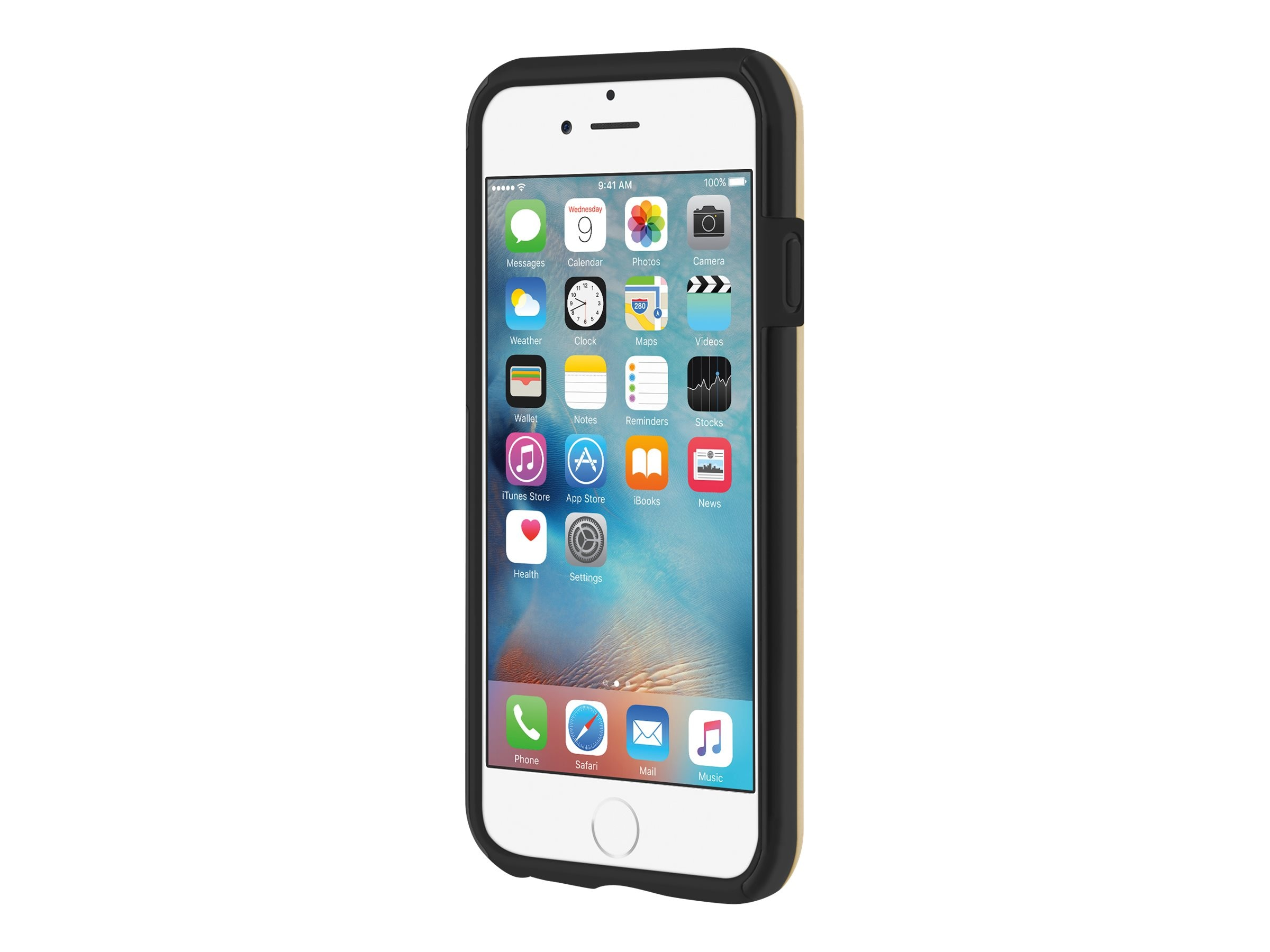 Incipio DualPro SHINE Dual Layer Protection w  Brushed Aluminum Finish for iPhone 6 6s, Gold Black