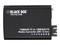 Black Box Pure Networking 10Base-T 100BaseTX to 100BaseFX Media Converter, ST, LH1706A-ST-US, 5951260, Network Transceivers