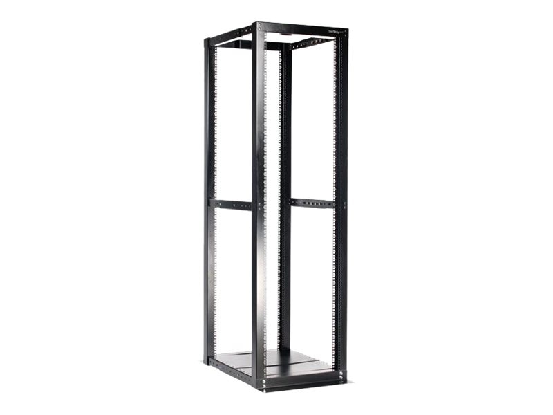 StarTech.com 42U Adjustable 4 Post Open Server Equipment Rack Cabinet, 4POSTRACKBK
