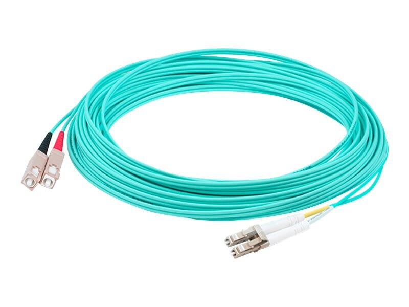 ACP-EP LOMM OM4 Fiber Optic Male LC LC 50 125 Duplex Cable, Aqua, 25m, ADD-SC-LC-25M5OM4
