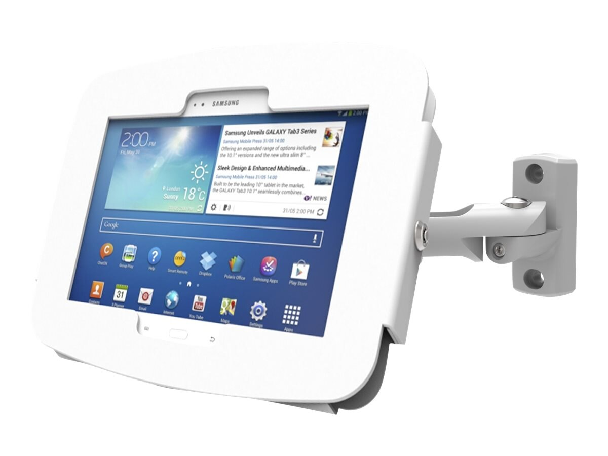 Compulocks Galaxy Tab Space Enclosure Swing Arm for 8 Galaxy Tab 3 4, White, 827W480GEW