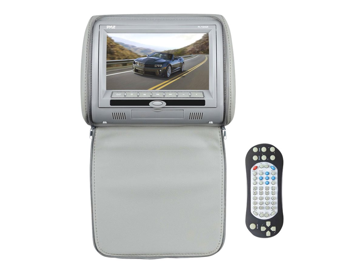 Pyle 7 Hi-Res Headrest Video Display Monitor with Built-in DVD Player, USB SD Reader, PL73DGR, 18518625, Monitors - LCD