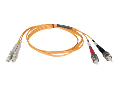 Tripp Lite Fiber Optic Cable, LC-ST, 50 125, Duplex Multimode, 2m, N518-02M, 7127952, Cables