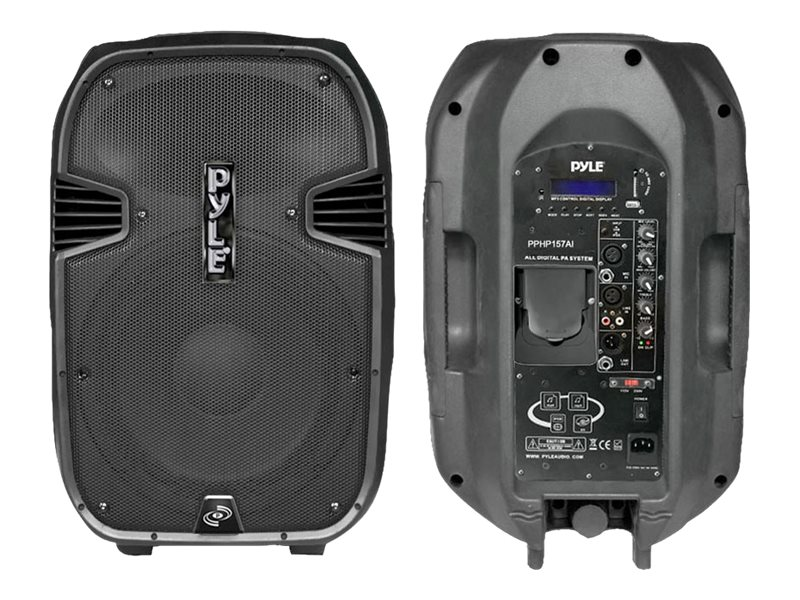Pyle 15 1400 Watt Portable Powered Two-Way Full-Range PA Speaker with Built-In iPod Dock USB SD & Remote, PPHP157AI