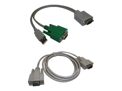Topaz DB9 (M) to DB9 (F) and USB Type A (M) Y-Cable
