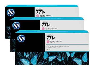HP 771A 775-ml Light Magenta Designjet Ink Cartridges (3-pack), B6Y43A, 15709266, Ink Cartridges & Ink Refill Kits